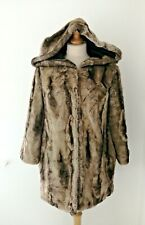River Island Brown Faux Fur Coat Hoodie Teddy Bear Winter Warm Snuggly Size 10
