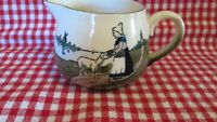 Antique Vintage Creamer Germany Woman Lady Sheep Windmill Cream Green Scene