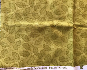 """NEW FABRIC 1/3 YD  COTTON  45"""" x 13"""" BROWN MODA PATTERN 17291 LEAVES"""