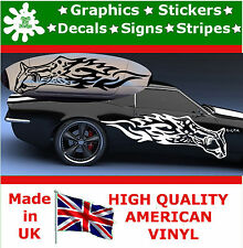 2 x Large Car Side Cat Fire Flame Stickers Graphics 4x4 Decals Vinyl Wall  80