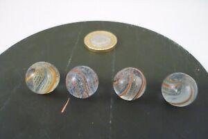 4 vintage  glass marblesGerman Antique pontil Handmade