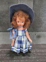 Nancy Ann Storybook Doll Little Betty Blue Gingham Dress Felt Hat Brunette Vtg