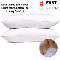 Set of 2 100% Goose Down and Feather Pillow Queen Size Premium Bed Pillows Sleep