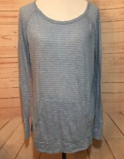 Ana Womens Large Blue White Striped Long Sleeved Top