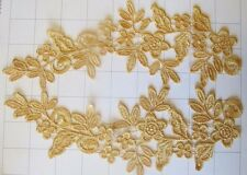 """Pair of 9 1/2"""" by 3"""" Gold Embroidered Mirror Appliques (I-35) Shipped from Usa"""