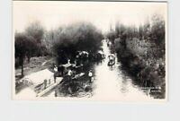 RPPC REAL PHOTO POSTCARD MEXICO XOCHIMILCO BOATS ON WATER #2
