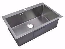 Handmade 1 Bowl Satin Stainless Steel Inset Kitchen Sink 74 x 48cm DS028
