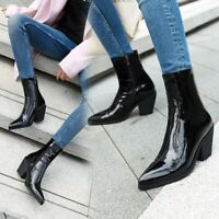 Women Patent Leather High Block Heel Pointed toe Side zip Ankle Boots Punk Shoes