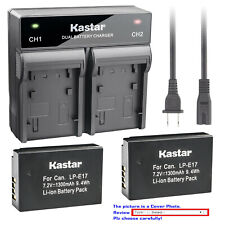 Kastar Battery Dual Rapid Charger for LPE17 Canon EOS RP Mirrorless Camera