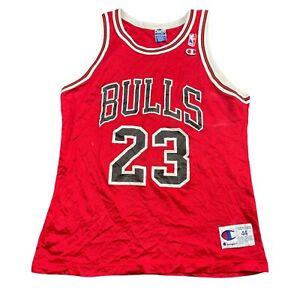 Vintage 90s Chicago Bulls Michael Jordan 23 Red Champion Jersey Size 44