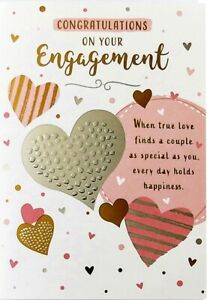 """Traditional Hearts """"ENGAGEMENT"""" Congratulations Card"""