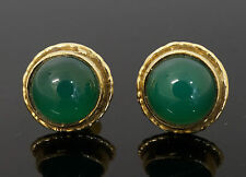 9carat Yellow Gold Green Agate Stud Earrings 11x11mm