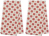 Set of 2 100% Cotton Christmas Kitchen Tea Towels Holiday Ornaments Dish cloths