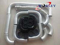 "2.5"" 64mm Aluminum Intercooler Turbo Piping + Black hose +T-Clamp kits Universal"
