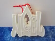 White Porcelain Noel with Mary and Jesus Christmas Tree Ornament