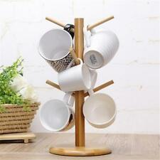 Bamboo Wooden Mug Tree 6 Cup Kitchen Drainer Storage Holder Stand Rack CS