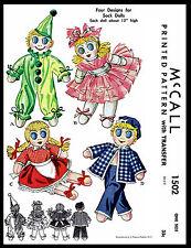 Sailor Ballerina Clown Toy Stuffed SOCK DOLLS Fabric Sewing PATTERN 1502 McCall