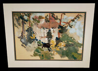 VINTAGE ABSTRACT CALIFORNIA CABIN LANDSCAPE OIL PAINTING ADELE STIMMEL CHASE