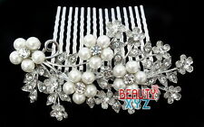Flower Rhinestone Crystal Pearl Bridal Wedding Prom Hair comb Tiara #2908