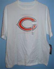 Men's Large NFL Chicago Bears Football Crew T Shirt Reebok Stencil Style White