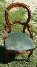 GORGEOUS ANTIQUE CARVED BALLOON BACK CHAIR WITH COVERED SEAT