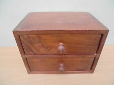 Vintage 1970s small chest of 2 mini drawers for jewellery, teak hardwood