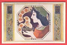 Vintage JAPAN Japanese Art Nouveau Postcard Goddess Lamp Owl Cock 151