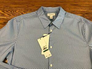Calvin Klein LS Button Front Shirt Men's Large Stretch Cotton Blue Geometric NWT