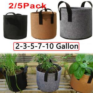 2/5X 3/5/7/10 Gallon Fabric Grow Pots Breathable Planter Potato Tomato vegetable