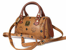 Auth MCM Logos Brown Leather Mini Boston Bag with Shoulder Strap MB9158L