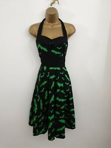 Hell Bunny Vixen Size M ( UK Size 12 ) Black Green Bat Halloween Gothic Dress