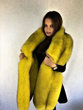 Extra Big Double-Sided Fox Fur Stole 86' (220cm) Saga Furs Yellow
