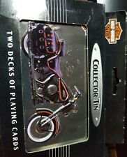 PLAYING CARDS,TWO (2) DECKS,Harley Davidson Motorcycles Tin 1998 FREE SHIPPING