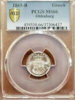 1865-B German States OLDENBURG Groschen Finest Known PCGS MS66 KM# 194