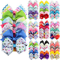 6PCS Baby Kids Girl Ribbon Bow Hair Clip Lovely Boutique Hairpin Hairs Accessory