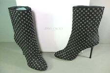 bbd28d5d2d2 Jimmy Choo 35 Gillian Black Suede Silver Grommets Round Toe Ankle BOOTS  BOOTIES