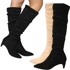 7578901e140c NEW Faux Suede Slouchy Knee High Boot Pointy Toe Med Low Kitten Heel Zipper