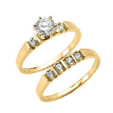 Dainty Gold Round CZ Solitaire Engagement Wedding Ring Set.