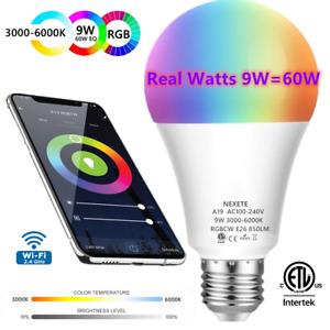 Wifi Smart LED light Bulb 9W(60W) A19 850LM RGBW Dimmable for Alexa/Google/Siri
