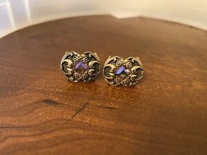 Vintage Swank Cufflinks Gold Tone Rivoli Jewel Glass Cuff Links Purple