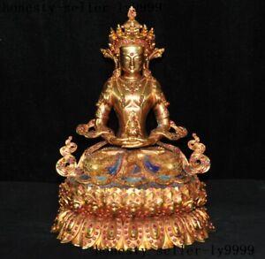 bronze 24k gold Inlay gem longevity Amitabha Buddha Kwan-Yin Guanyin statue