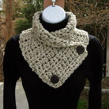 NECK WARMER SCARF Oatmeal Beige Light Brown Crochet Knit Thick Cowl w/ Buttons
