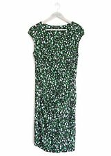 JAEGER WOMENS BLACK & GREEN ABSTRACT SPOT PRINT DRAPED DETAIL DRESS *UK 12*