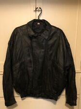 SANZZINI GENUINE LAMBS LEATHER JACKET BLACK MENS Med ZIP FRONT