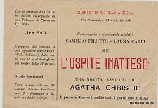 """# ROMA: TEATRO - RIDOTTO ELISEO COMPAGNIA """"SPETTACOLI GIALLI"""" PILOTTO E CARLI.."""