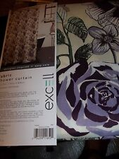 "NEW EXCELL FABRIC SHOWER CURTAIN SUZANNA 70"" X 72"" PURPLE GREEN FLORAL FLOWERS"