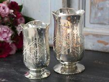 Chic Antique Windlicht groß Schliff Bauernsilber Teelichthalte vintage und shabb