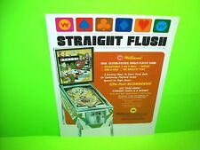 Williams 1970 STRAIGHT FLUSH Original Arcade Game Pinball Machine Promo Flyer