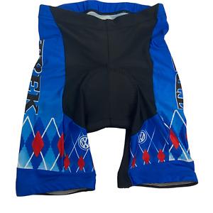 VTG TREK Volkswagen Black Blue Red White Padded Cycling Shorts Size Lg Rare
