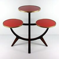 German Vintage Mid-Century Tripod Walnut & Glass Plant Stand ~ Side Table, 1950s